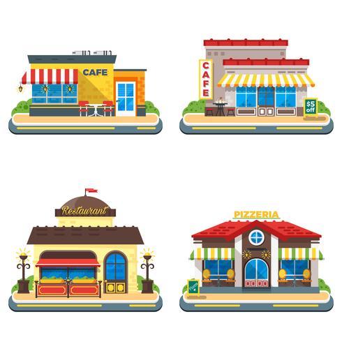 Café 2x2 platt ikoner uppsättning