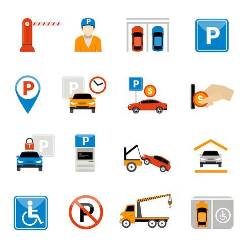 Conjunto de iconos de estacionamiento vector