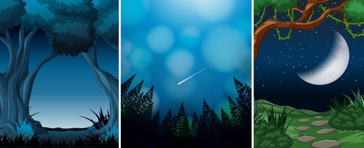 Set aus Holz Nachtaufnahme