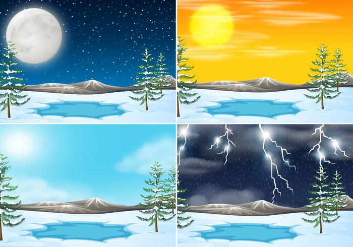 Conjunto de cena ao ar livre de inverno vetor