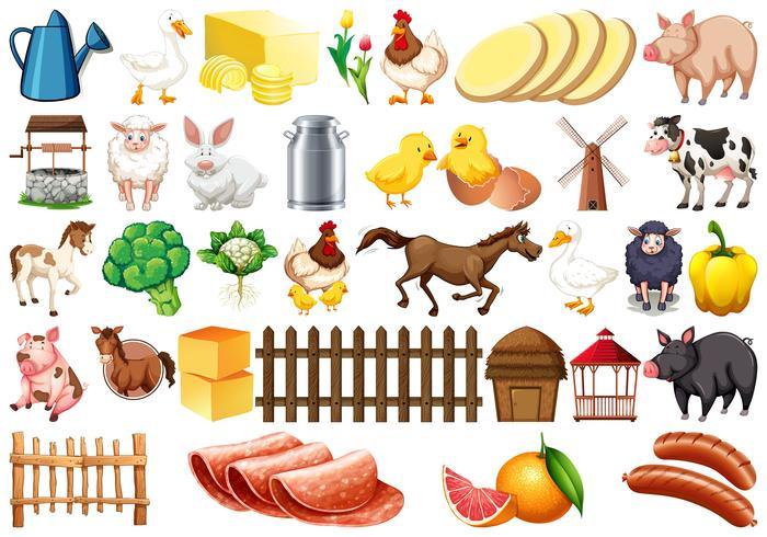 Conjunto de elementos de granja vector