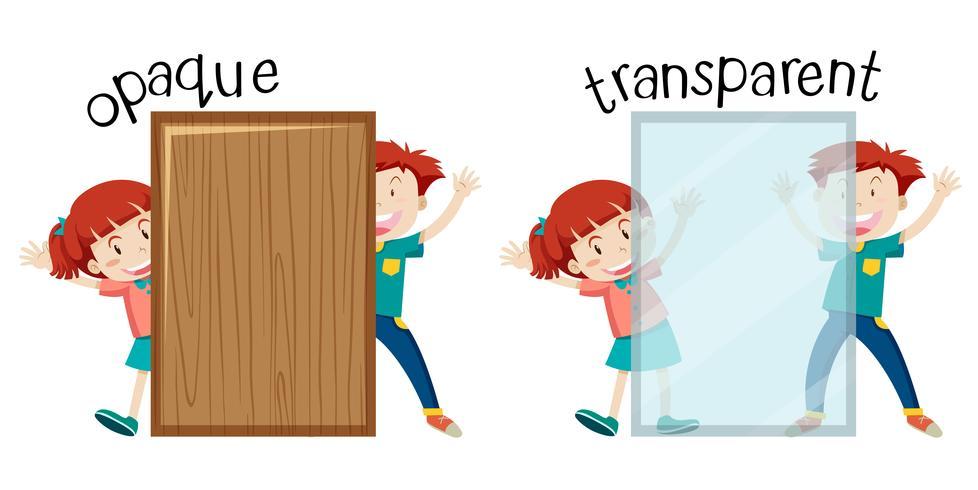 Inglés opuesta a la palabra opaca y transparente vector
