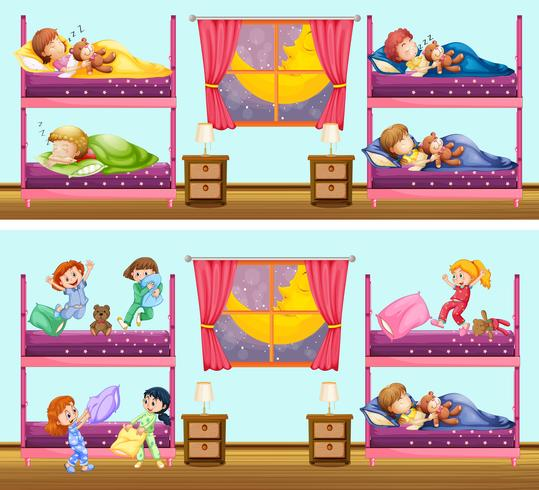 Bambini nella scena dei letti a castello vettore