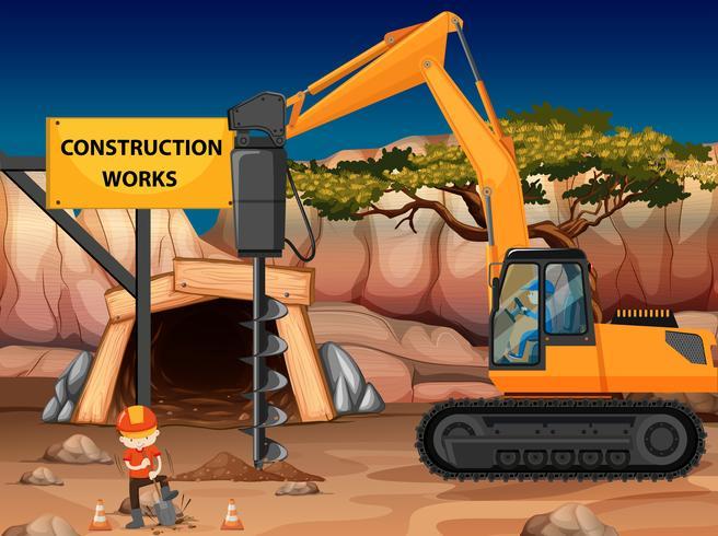 Lavori di costruzione nella miniera con carotatore