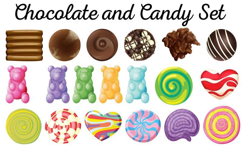 Verschillend ontwerp van chocolade en snoepreeks