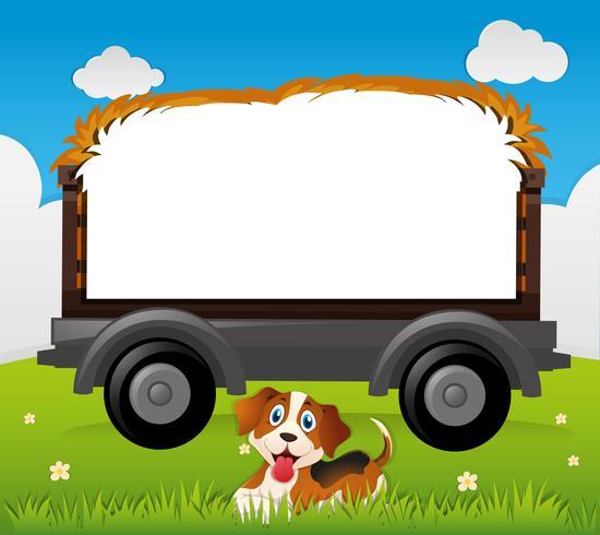 Plantilla de frontera con perro en el campo vector