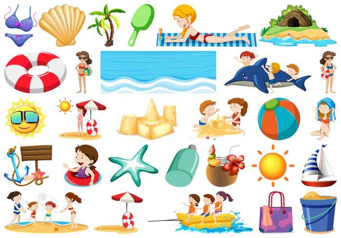 Conjunto de elementos de playa de verano. vector