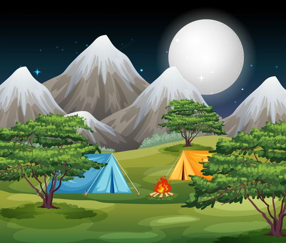 Camping in nature scene vector