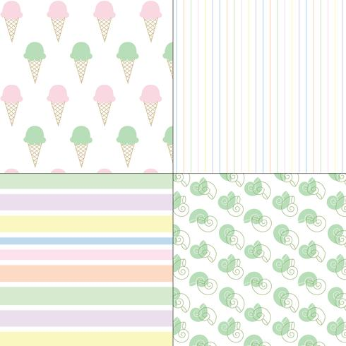 ice cream shells and stripes pastel seamless patterns