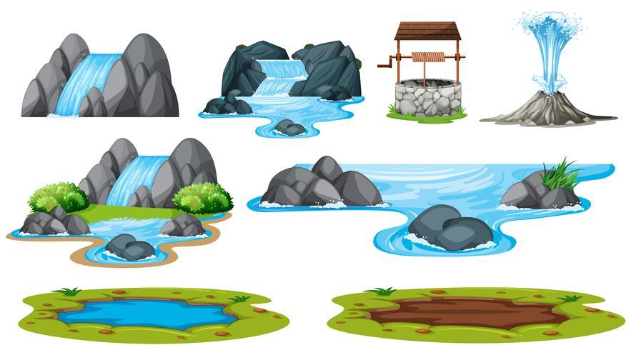 Ensemble d'élément d'eau isolé