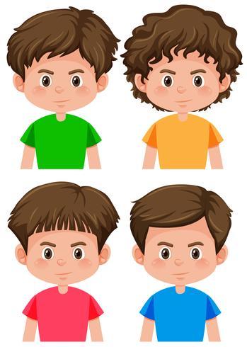 Set av pojke karaktär olika frisyr