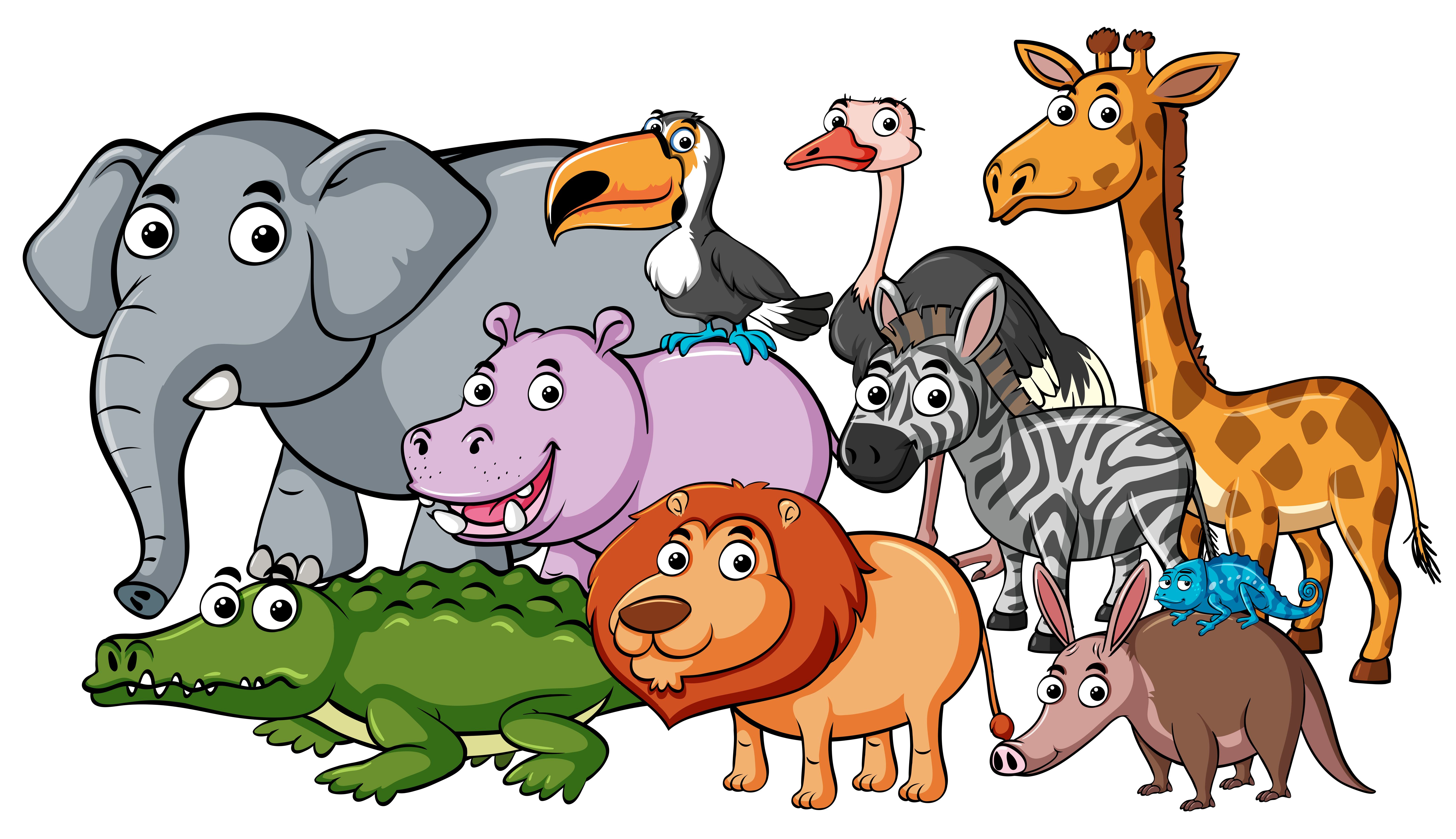 animals wild different together kinds wildlife vector clipart animal african safari graphics resources cartoon shutterstock farm vectors jungle