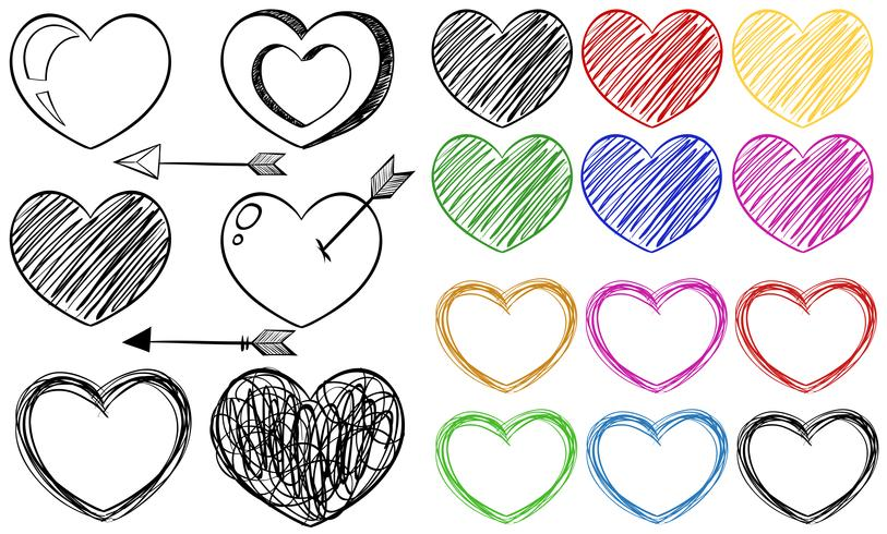 Different doodle designs of heart shapes