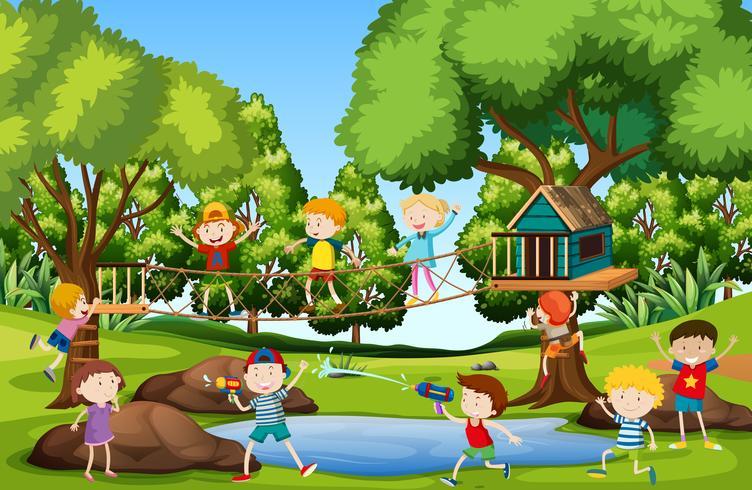 Niños jugando en el patio vector