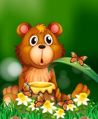 Schattige beer met honingpot