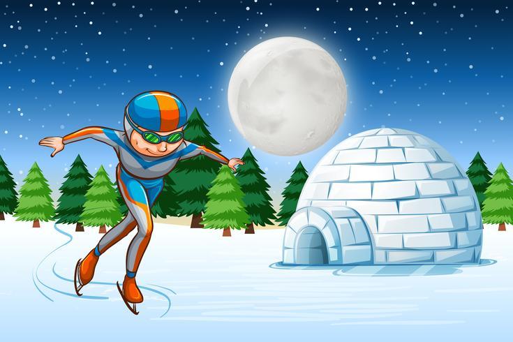Um, homem, patim gelo, inverno, backgrounf