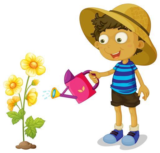 Garçon arrosant une fleur jaune avec une canette