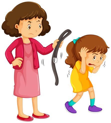 Mädchen wird von der Mutter bestraft
