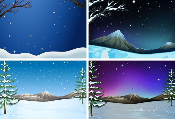 Set of winter landscape