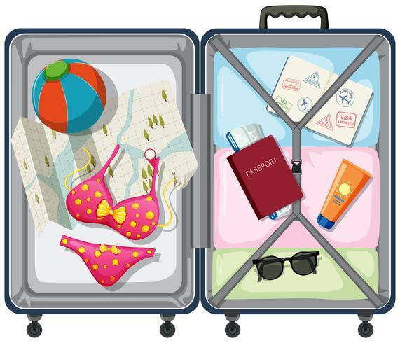 Elemento de viaje en el equipaje. vector