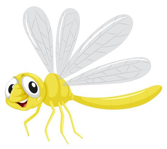 Un personaje de libélula sobre fondo blanco vector