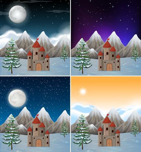 Sats av snöiga slott scener vektor