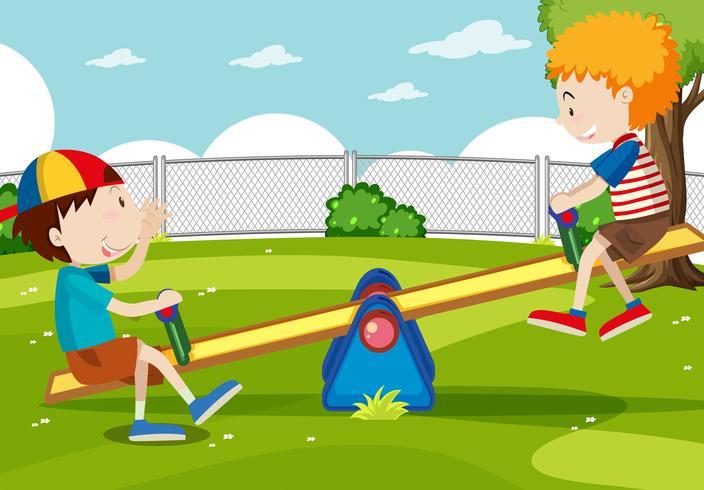 Niño y niña jugando balancín vector