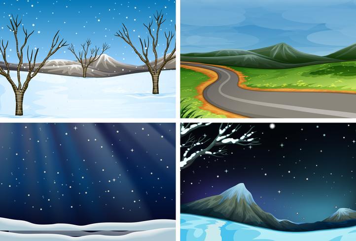 Conjunto de paisaje de la naturaleza vector