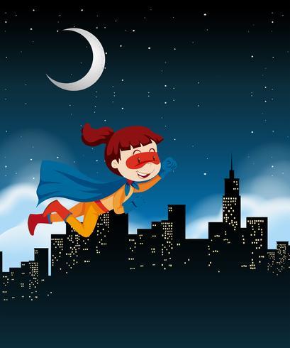 Een meisjes super held die op hemel vliegt vector