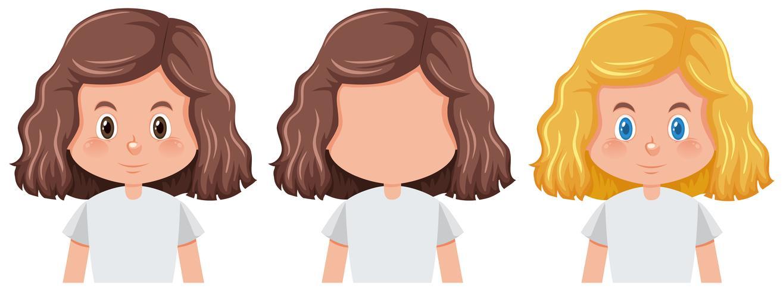 Set av tjej med olika frisyr