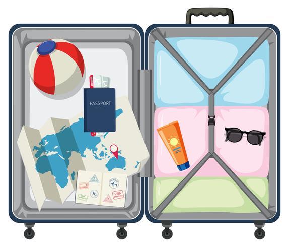 Moderner Koffer mit Reisegepäck vektor
