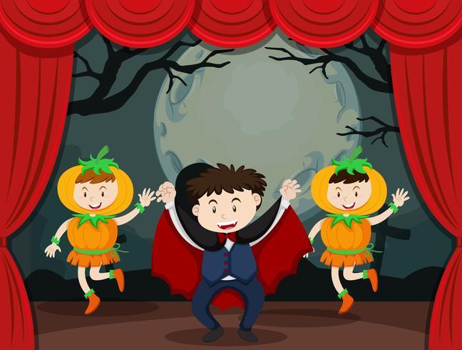 Vampier en pompoen op het podium