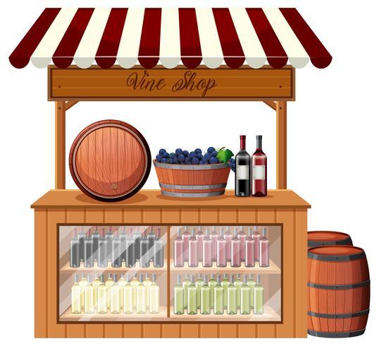 Un puesto de tienda de vinos. vector