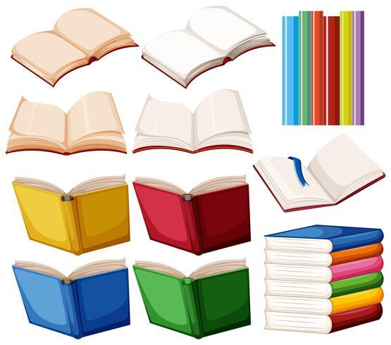 Set des Buches auf weißem Hintergrund