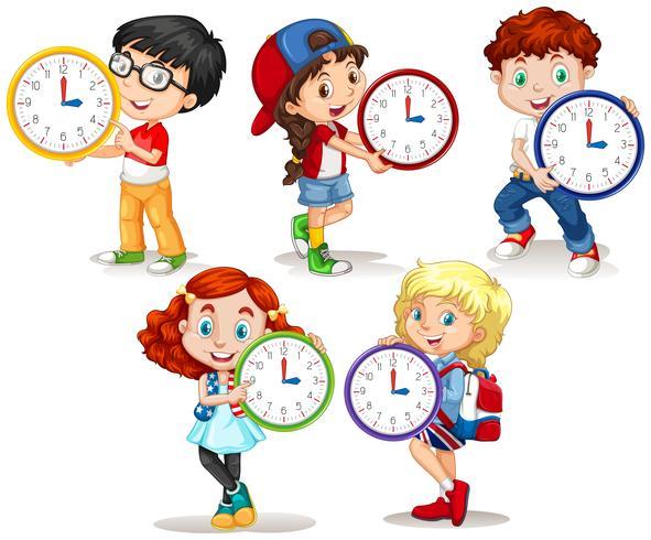 Niños con reloj sobre fondo blanco vector