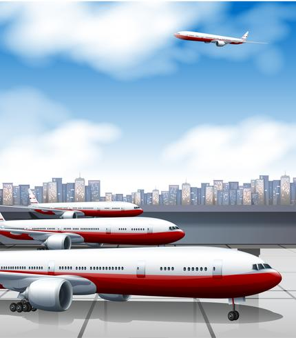 Aeroporto de construção com estacionamento de aviões