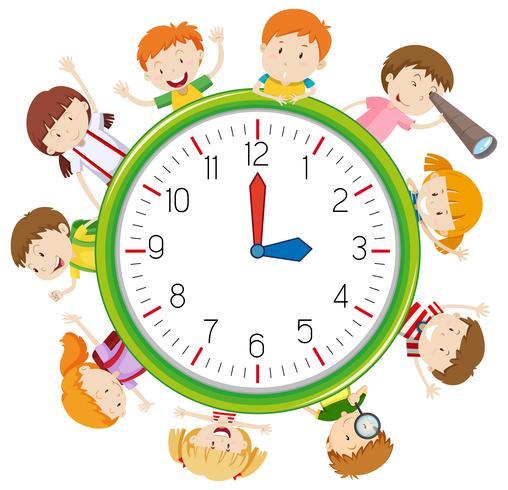 Niños en plantilla de reloj