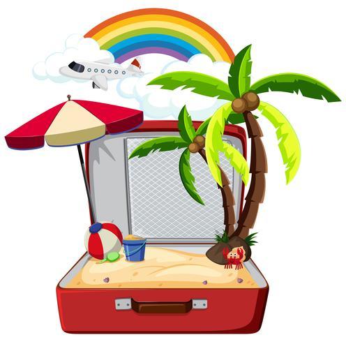 Elemento de verano en maleta. vector