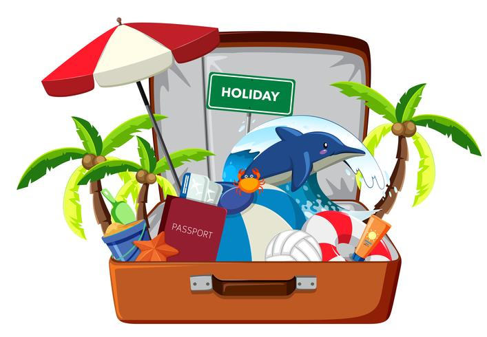 Holiday element in luggage vector