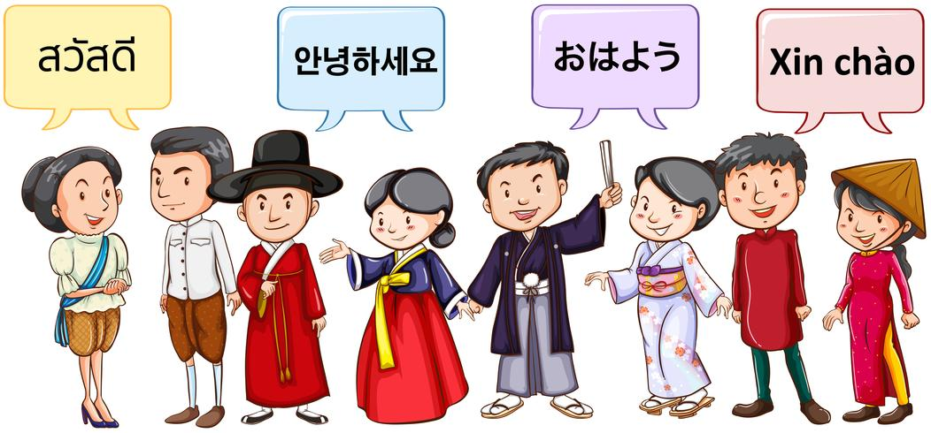 Asian people greeting in different languages