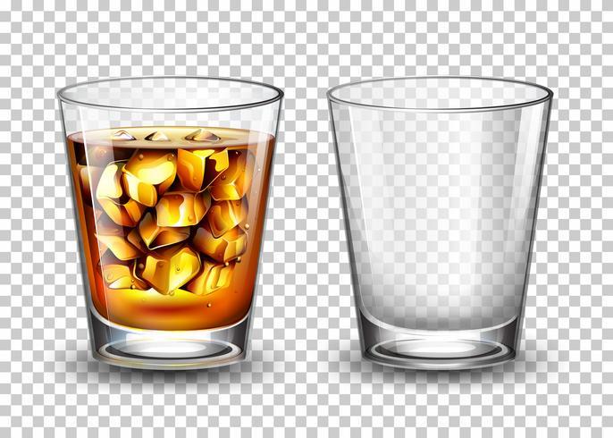 Conjunto de vidrio transparente vector