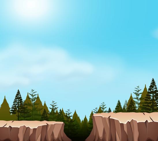 Una escena del acantilado de la naturaleza. vector