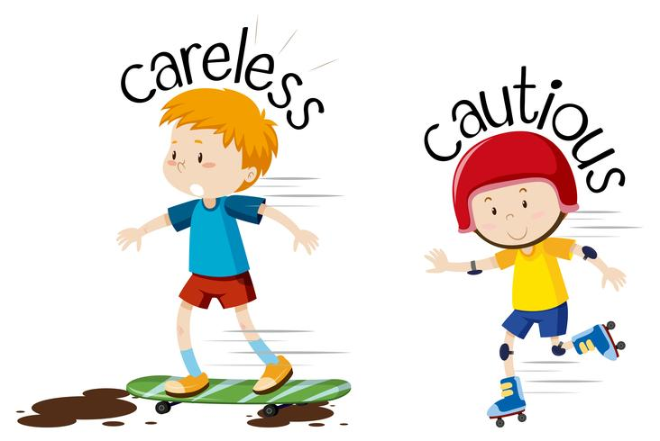 English opposite word  careless and cautious