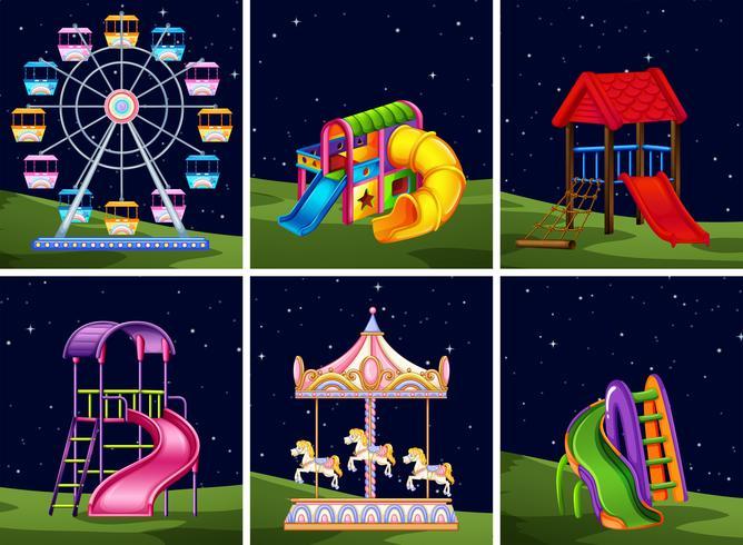 Conjunto de elementos de juegos por la noche. vector