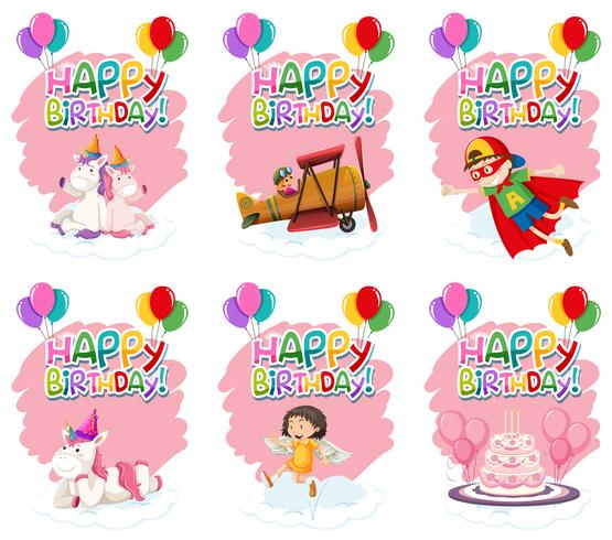 Conjunto de icono de cumpleaños lindo vector