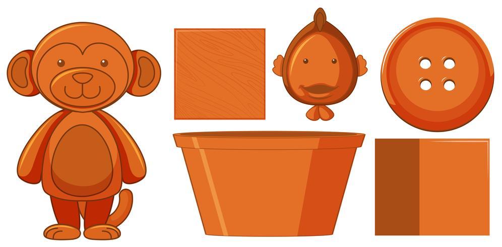 Set van oranje speelgoed