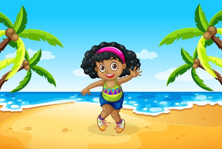 A chubby girl at the beach