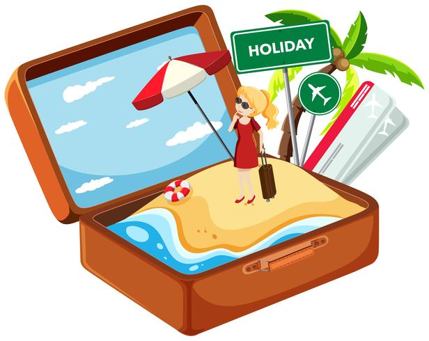 Holiday girl in suitcase vector