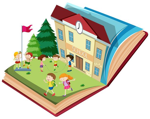 Student at school open book theme vector
