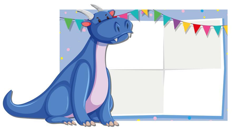 Cute dragon fram template vector